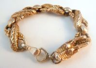 Chunky Sterling Silver Gilt Dragon Bracelet.